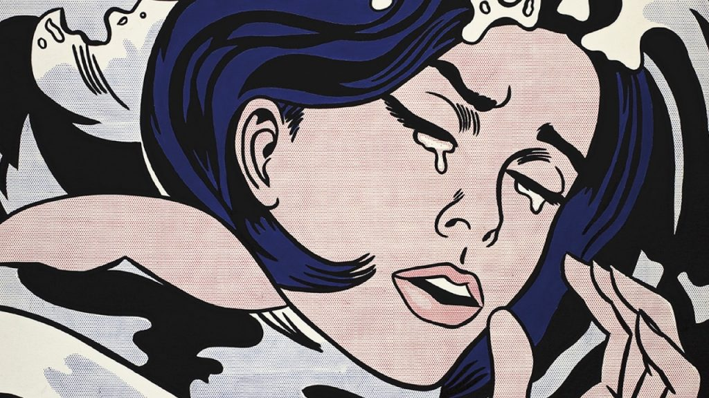 Roy Lichtenstein American 1923–97 Drowning girl 1963  oil and synthetic polymer paint on canvas 171.6 x 169.5 cm The Museum of Modern Art, New York Philip Johnson Fund (by exchange) and gift of Mr. and Mrs. Bagley Wright, 1971 © Estate of Roy Lichtenstein/Licensed by Copyright Agency, 2018