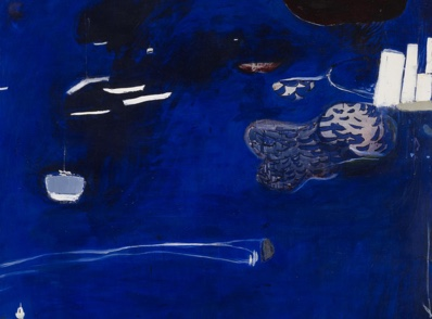 Brett WHITELEY Evening coming in on Sydney Harbour 1975  oil on cotton on canvas 228.2 x 190.0 cm National Gallery of Victoria, Melbourne Presented by Mrs Adrian Gibson as the winner of the 1975 Sir William Angliss Memorial Art Prize, 1976 A8-1976 © Wendy Whiteley