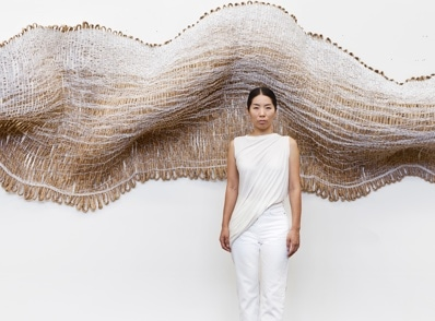 Designer Mimi Jung with her work Fallen Fence 2018