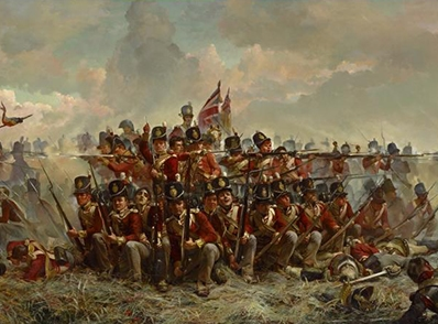 Elizabeth THOMPSON The 28th Regiment at Quatre Bras 1875 (detail)  oil on canvas 97.2 x 216.2 cm National Gallery of Victoria, Melbourne Purchased, 1884
