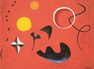 Alexander Calder American 1898–1976 Molluscs 1955 oil on canvas 76.2 x 101.6 cm Calder Foundation, New York © 2018 Calder Foundation, New York / Copyright Agency, Australia Photo Credit : Calder Foundation, New York / Art Resource, NY