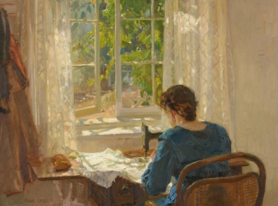 Hans Heysen  Sewing (The artist's wife)  1913 oil on canvas 82.0 x 86.0 cm 73.0 x 78.0 cm (framed) The Cedars, Hahndorf The Hans Heysen Estate © C Heysen