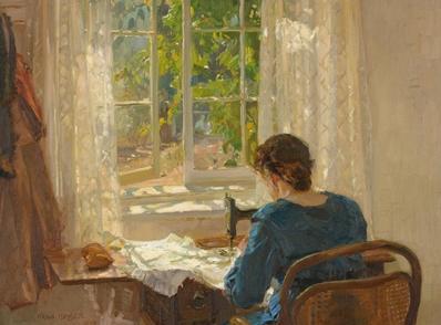 Hans Heysen  Sewing (The artist's wife)  1913 oil on canvas 82.0 x 86.0 cm 73.0 x 78.0 cm (framed) The Cedars, Hahndorf The Hans Heysen Estate © C Heysen