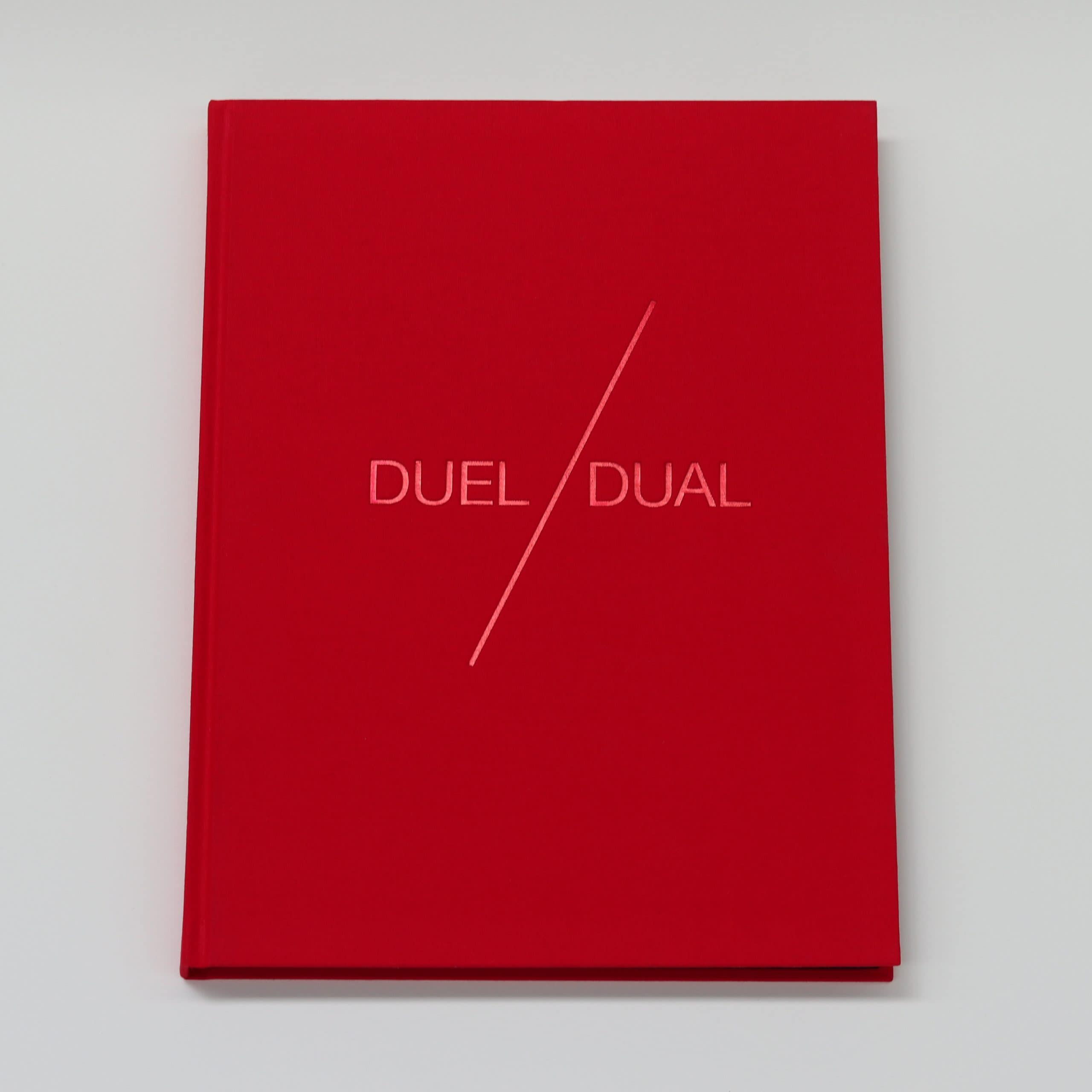 Brook Andrew & Trent Walter, Dual/Duel, hardcover 176 pages, edition of 550 with 500 copies in red and yellow cloth, and a further 50 copies in black cloth with unique additions by the artist, designed by Yanni Florence.