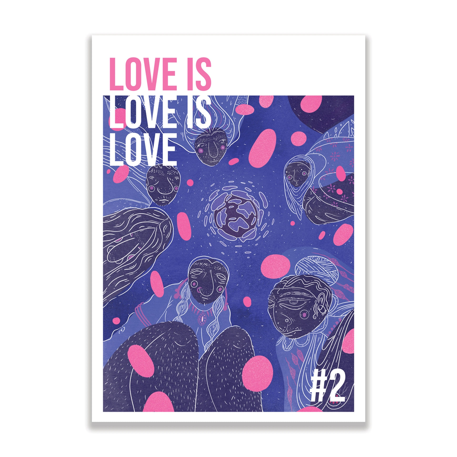 The second issue of bi art anthology Love is love is love featuring cover art by Isma Gul Hasan.